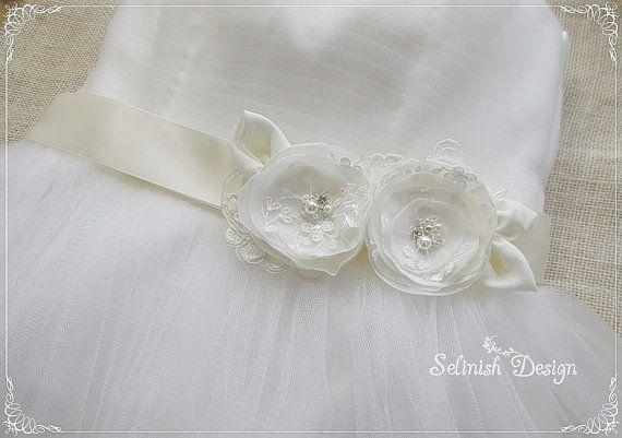 Ivory Bridal Sash Belt, Bridal Flower Belt, Floral Sash, Dress Sash, Something Ivory, Ivory Flowers by SelinishDesign on Etsy