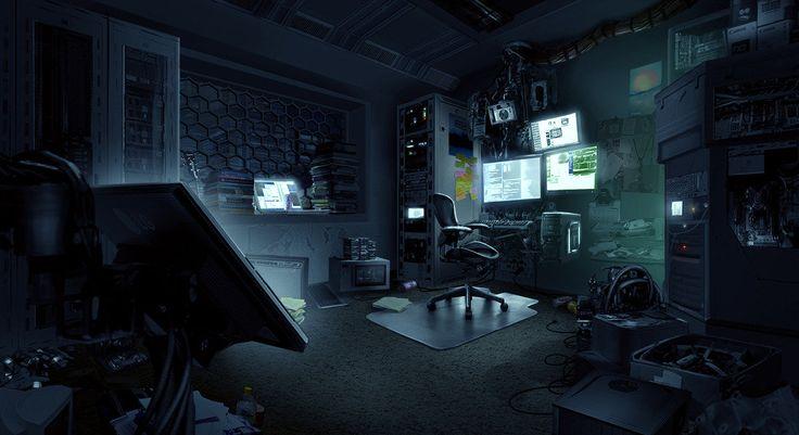 Hacker room, Tim Ridley on ArtStation at https://www.artstation.com/artwork/hacker-room