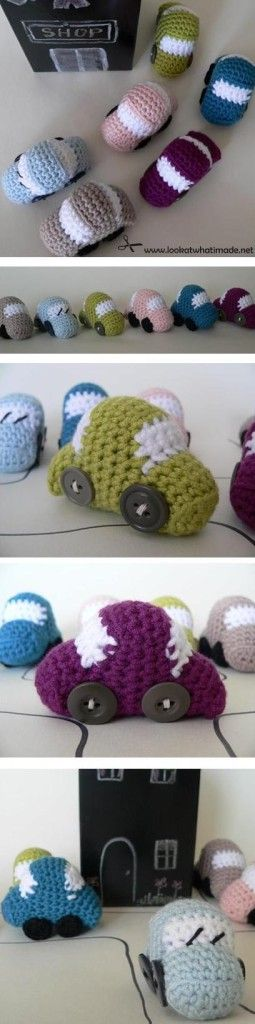 Tiny Crochet Car Pattern. Quick and easy stash buster!