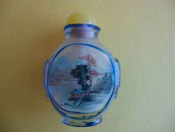 Reverse Painted Snuff Bottle with Spoon