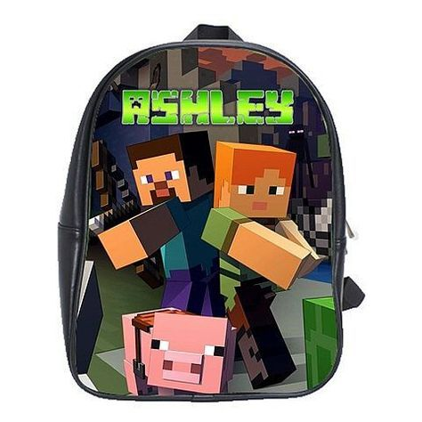 Minecraft Backpack Kids School Bags Lego Toys Mobs PERSONALIZED NAME via…