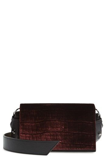 ALLSAINTS KEEL SHOULDER BAG - BURGUNDY. #allsaints #bags #shoulder bags #leather #velvet #