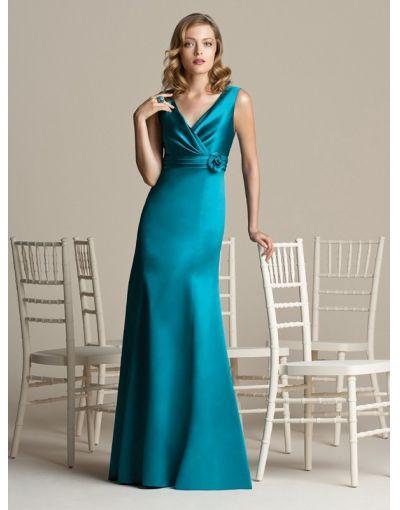 Bruidsmeisjes-satijn applique v-hals groene lange lengte bruidsmeisje jurk