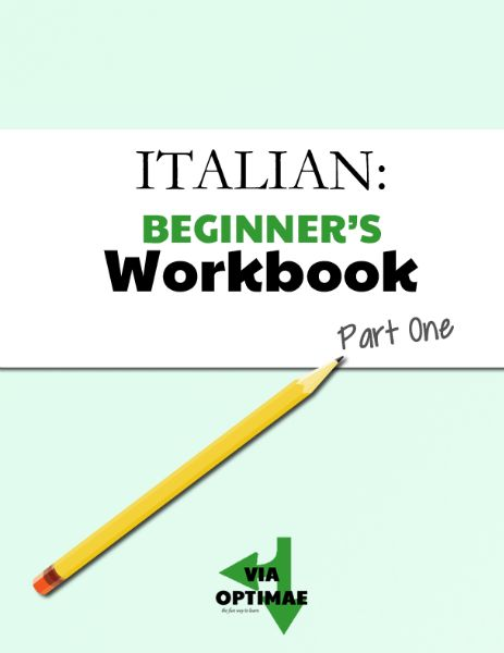 Printable worksheets to accompany the Beginner's Italian lessons on Via Optimae, part one: How Italian Verbs Work, Simple Present Tense (-ARE, -ERE, and -IRE verbs), La negazione - Negation, Adverbs of frequency, C'è & Ci Sono...