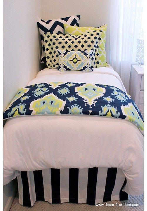 Lime Amp Navy Designer Teen Amp Dorm Bed In A Bag Teen Girl