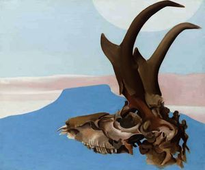 Antelope head with pedernal - (Georgia O'keeffe)