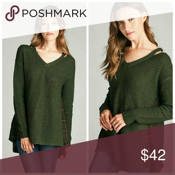 Coming Soon Heather V Neck Sweater V-neck, cold shoulder, plaid inset, long sleeve waffle sweater.   100% Acrylic Sweaters V-Necks