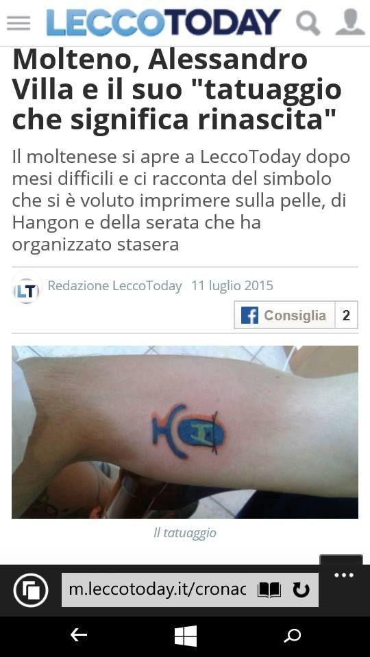 Eccolo qui quello che. per me, è molto di più di un semplice #tatuaggio! #Link articolo dove è spiegato cosa significa per me-> http://www.leccotoday.it/cronaca/molteno-alessandro-villa-e-il-suo-tatuaggio-che-significa-rinascita.html