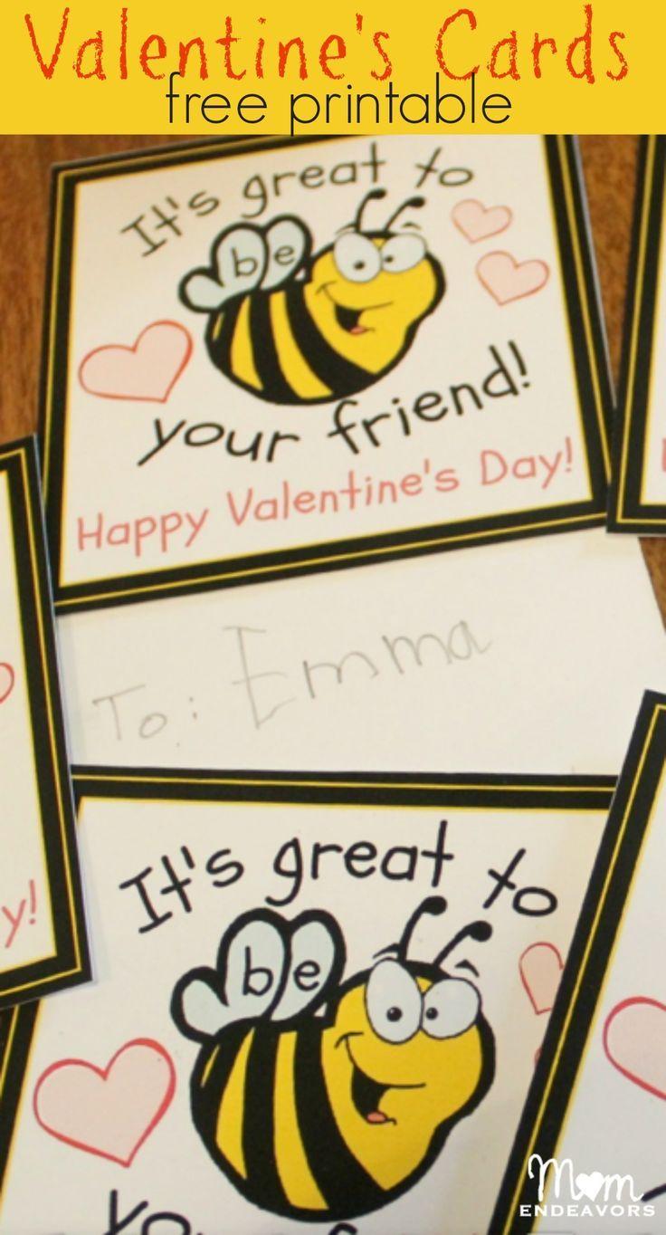 Bee Theme Valentines - FREE printable cards via http://momendeavors.com!