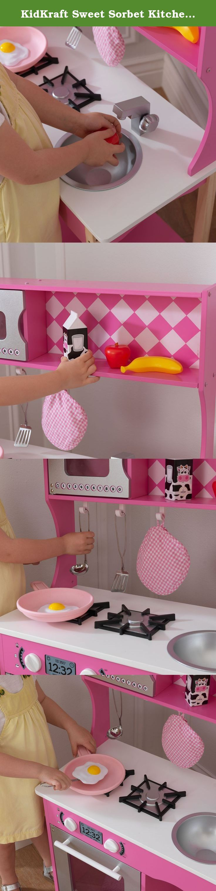 KidKraft Sweet Sorbet Kitchen Toy. Let's cook up some fun. The Sweet Sorbet Kitchen is a one-of-a-kind toy that young girls are sure to love. This wooden play kitchen is super sturdy and was designed to last for years and years. Parents will love the smart storage options, which help keep bedrooms tidy and organized. Features include .