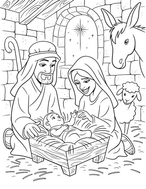 O Nascimento de Jesus | Coloring | Nativity coloring pages, Nativity ...