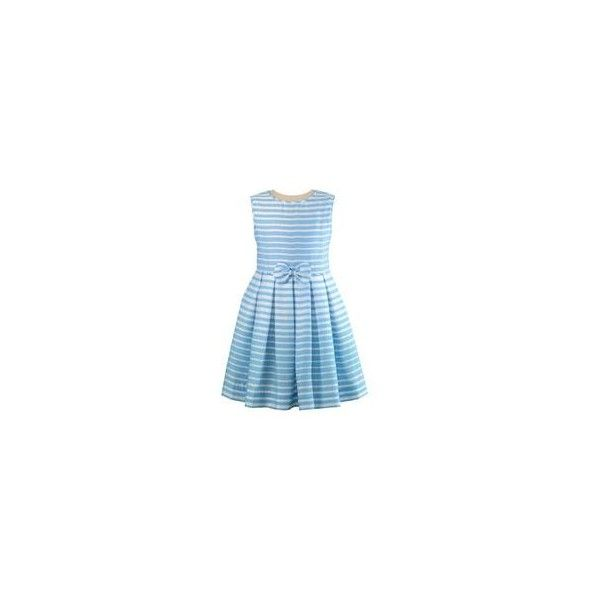 Striped Bow Party Dress ❤ liked on Polyvore featuring dresses, blue stripe dress, bow dress, striped cocktail dress, striped dress and blue cocktail dress