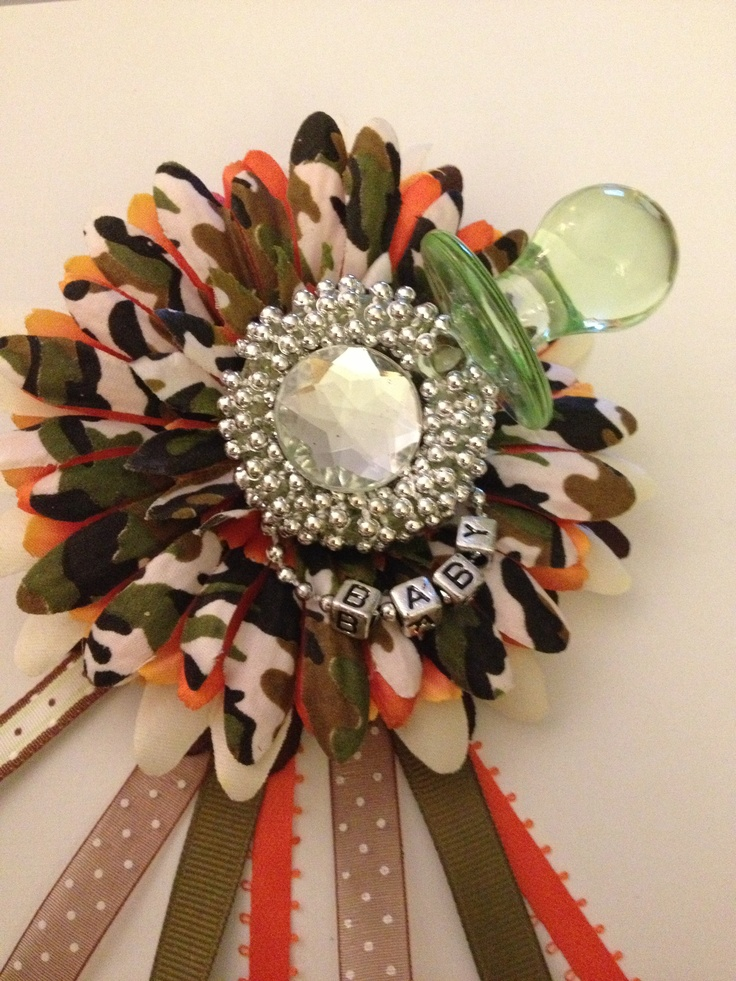 Wonderful Camo Pacifier Baby Shower Corsage