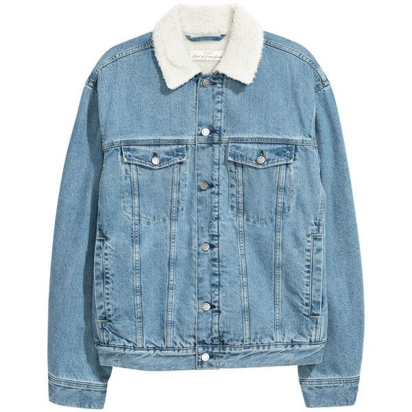 Pile-lined Denim Jacket $69.99 ($70) ❤ liked on Polyvore featuring outerwear, jackets, blue jackets, flap jacket, collar jacket, jean jacket and blue denim jacket