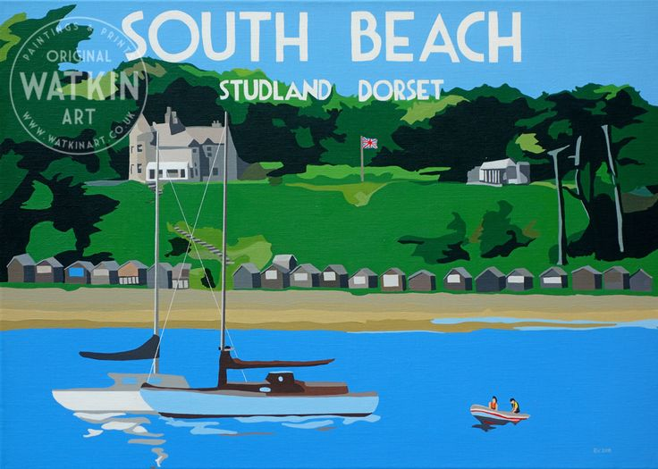 South Beach Studland Dorset, original painting by Richard Watkin www.watkinart.co.uk