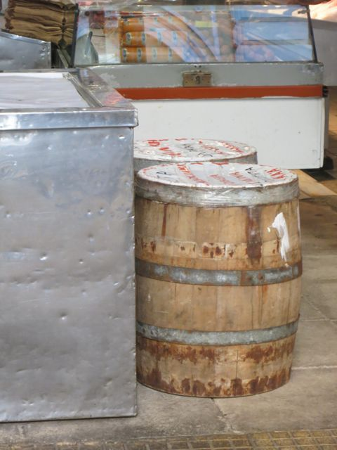 Barrels of mountain feta just delivered to the market. Athens, Greece.