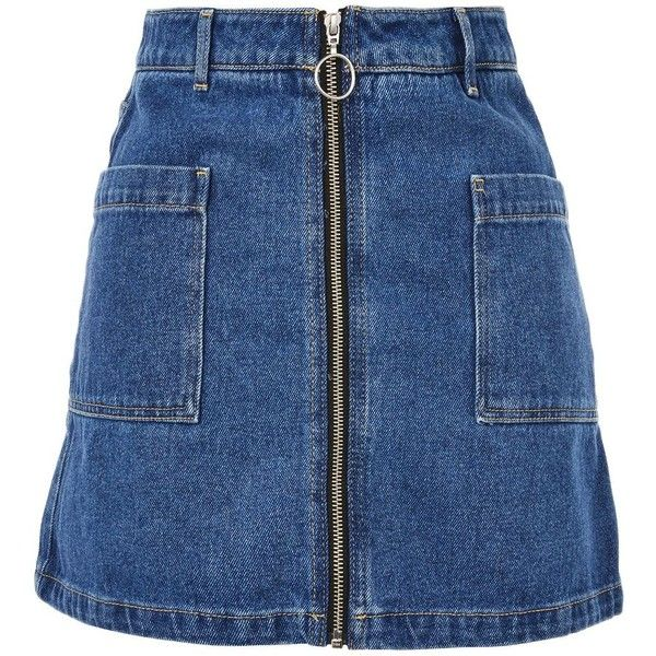 Topshop Moto Patch Pocket a-Line Denim Skirt (£29) ❤ liked on Polyvore featuring skirts, mid stone, topshop skirts, denim skirt, a line denim skirt, front zip skirt and blue skirt