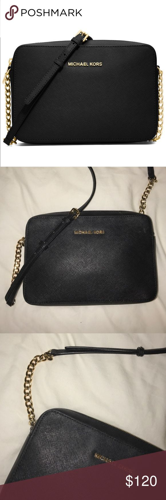 Michael Kors Jet Set Large Crossbody Perfect cross-body bag for day or night! Black with gold hardware. MICHAEL Michael Kors Bags Crossbody Bags