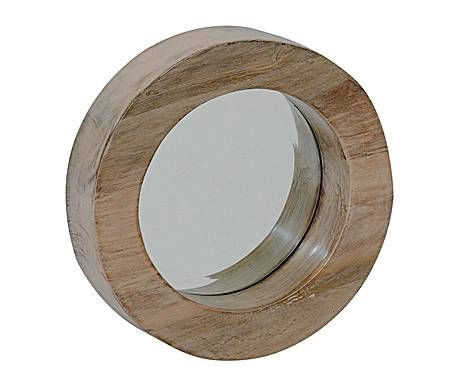 Outlet accesorios de pared espejo redondo de madera for Espejo redondo madera