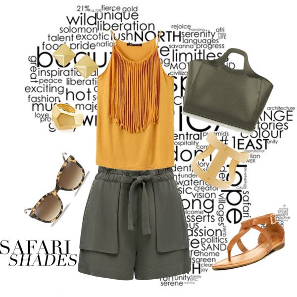 Summer safari outfit by theneelah on Polyvore featuring Chicnova Fashion, Forever New, Valextra, Anita Ko, Michael Kors, Kenneth Jay Lane, casual, fringe, safari and sunglasses