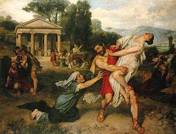 El rapto de las sabinas (1874) de Francisco Pradilla y Ortiz. Es un episodio mitológico que describe el secuestro de mujeres de la tribu de los sabinos por los fundadores de Roma.