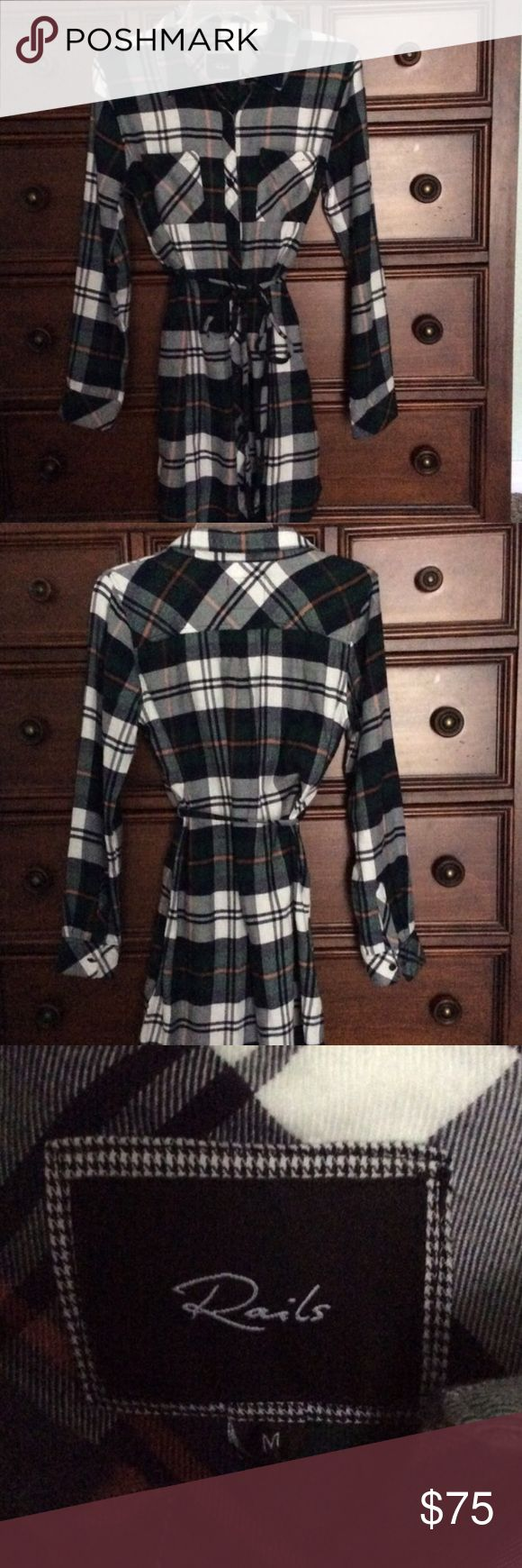 """Rails Plaid Flannel Shirt Dress Shirtdress Medium This is a Rails flannel shirt dress perfect condition, Colors are green navy orange and white. Made by Rails, this is not cheap flannel that will shrink and fade ❣️❣️ very soft nice flannel, buttons all the way down has two front pockets and a tie belt. Measurements are, shoulder to shoulder is 17"""" arm pit to arm p is 16"""" length is 35 1/2 """" long 😊 comes from a smoke free home Rails Dresses Midi"""