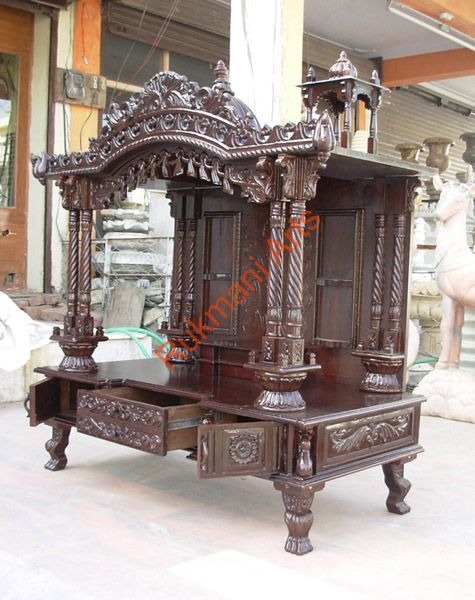 Code 48 wooden carved teakwood temple mandir wooden for Home mandir designs marble