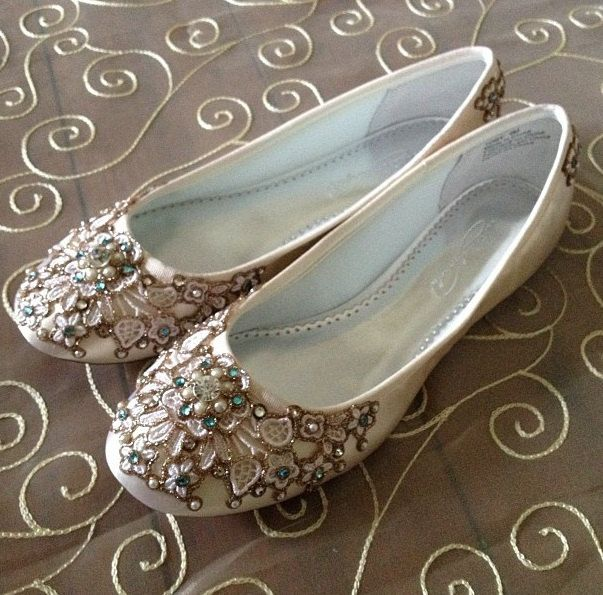 Spring Garden Bridal Ballet Flats Wedding Shoes - Any Size - Pick your own shoe color and crystal color. $165.00, via Etsy.