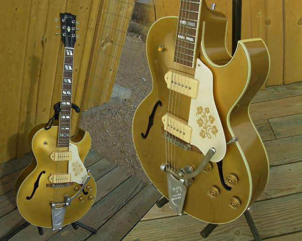 Guitar Blog: 1997 Gibson ES 295 reissue with Bigsby, P90s, antique golden finish and little flowers (not to mention the florentine cutaway)
