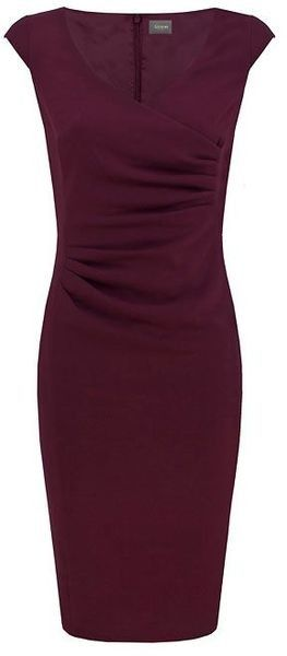I like how the ruching gives the dress texture and shape. Also, I lke the color.