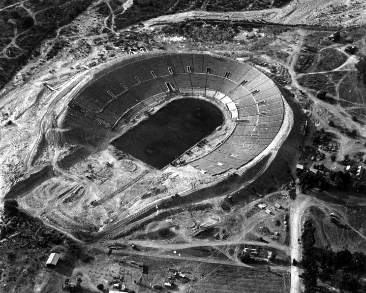Rose Bowl Stadium under construction in Pasadena 1921