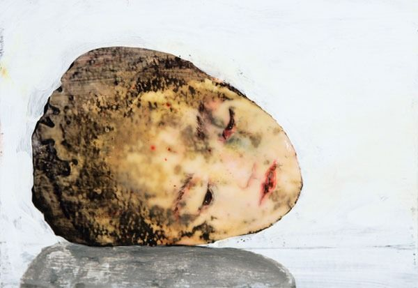 Penny Siopis. Head, 2007. Ink, oil and glue on paper, 14.7 x 21cm.