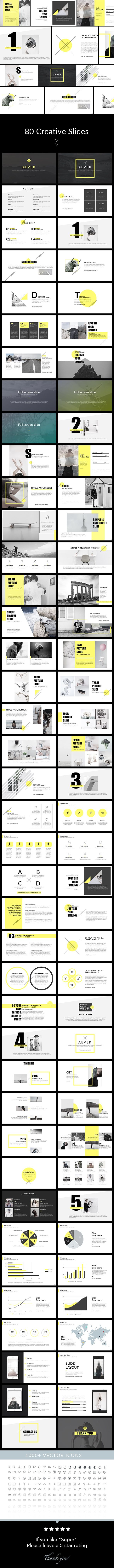AEVER - Clean & Simple Keynote Template  #clean #infographic #practical #yellow