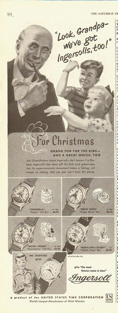 1952 Vintage ad for Ingersoll Watches~A Grandpa/children/Christmas