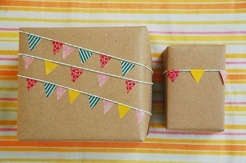 washi tape bunting gift wrap