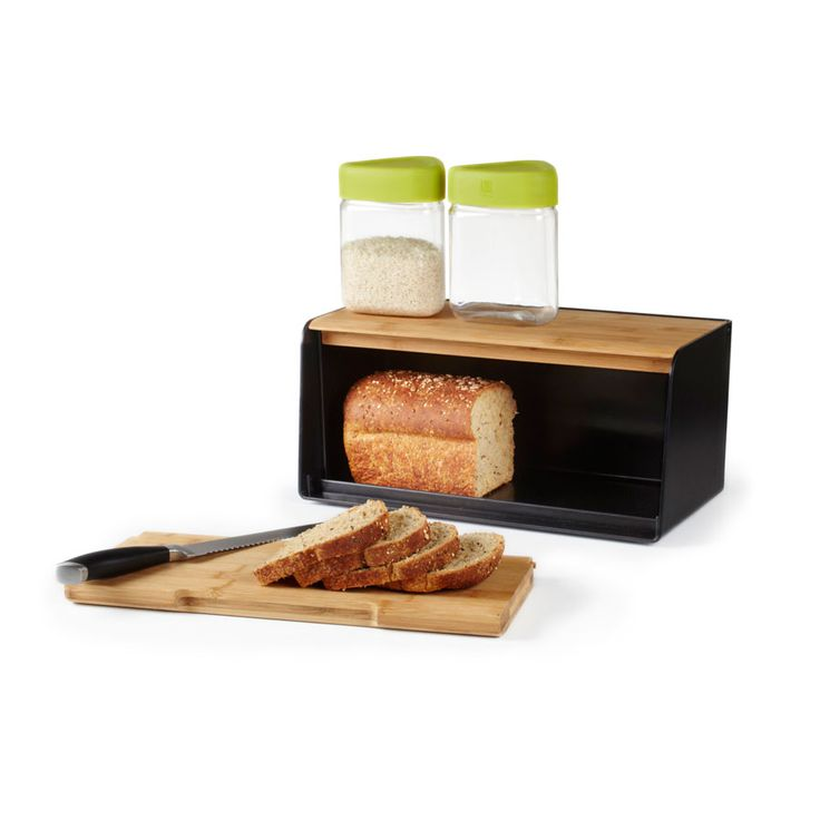 Modern Bread Box | Dotandbo.com  Removable Sliding Bamboo Front Panel Can  Be Used