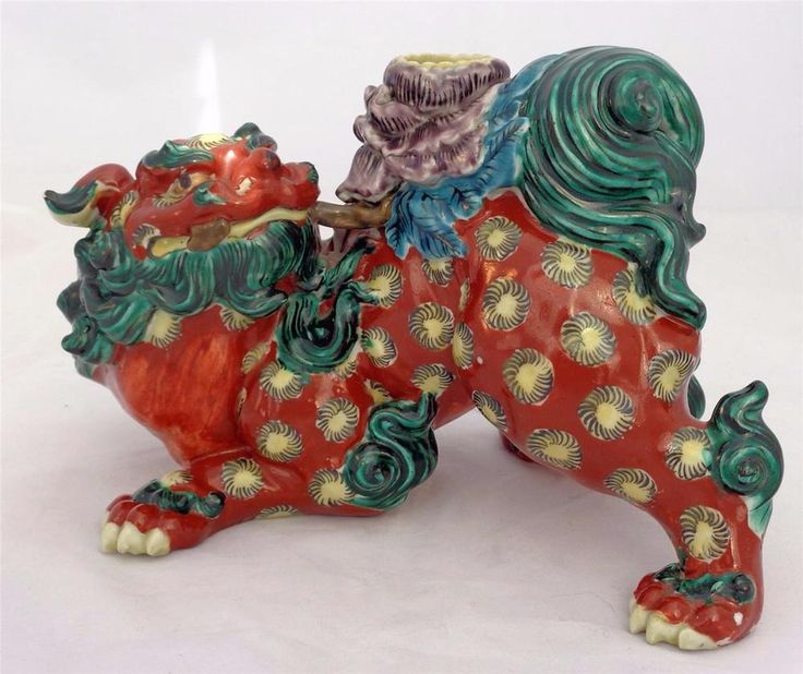Antique Japanese Meiji Red Kutani Figurine Foo Dog Lion