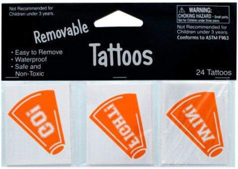 removable orange cheer tattoos Case of 24