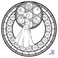 Tiana Stained Glass -line art- by Akili-Amethyst