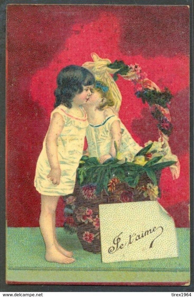 KL105 Je T'aime I LOVE YOU ENFANTS BAISER COUPLE Of CHILDREN Kiss Kissing - Illustrateurs & Photographes