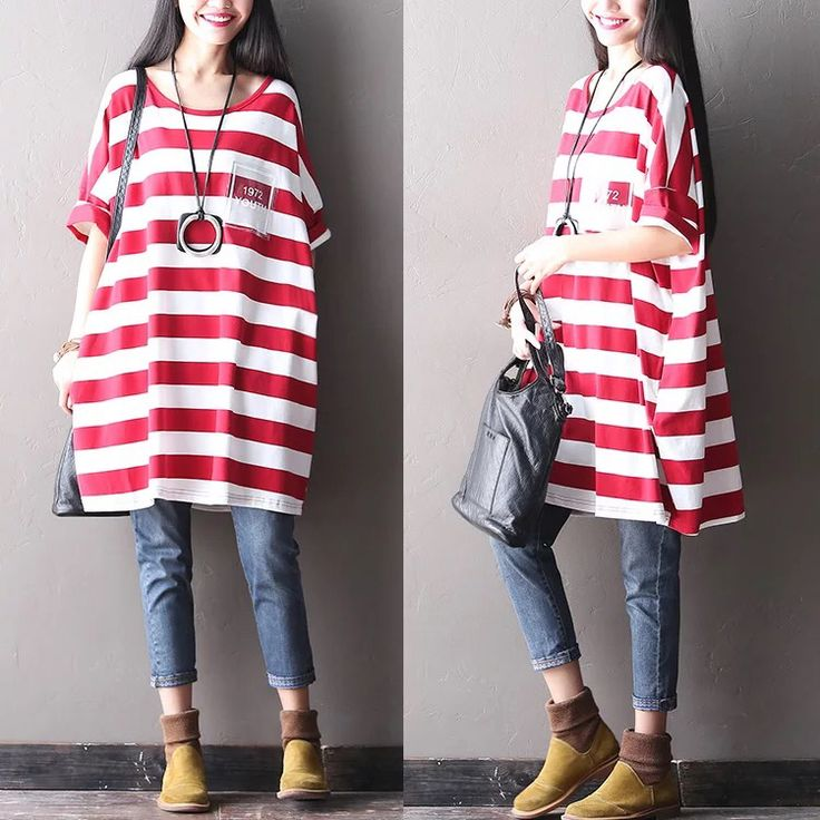 Red white stripe dress women clothes Causel long dress