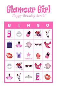 Personalized Glamour Girl Diva Birthday Party Bingo Game