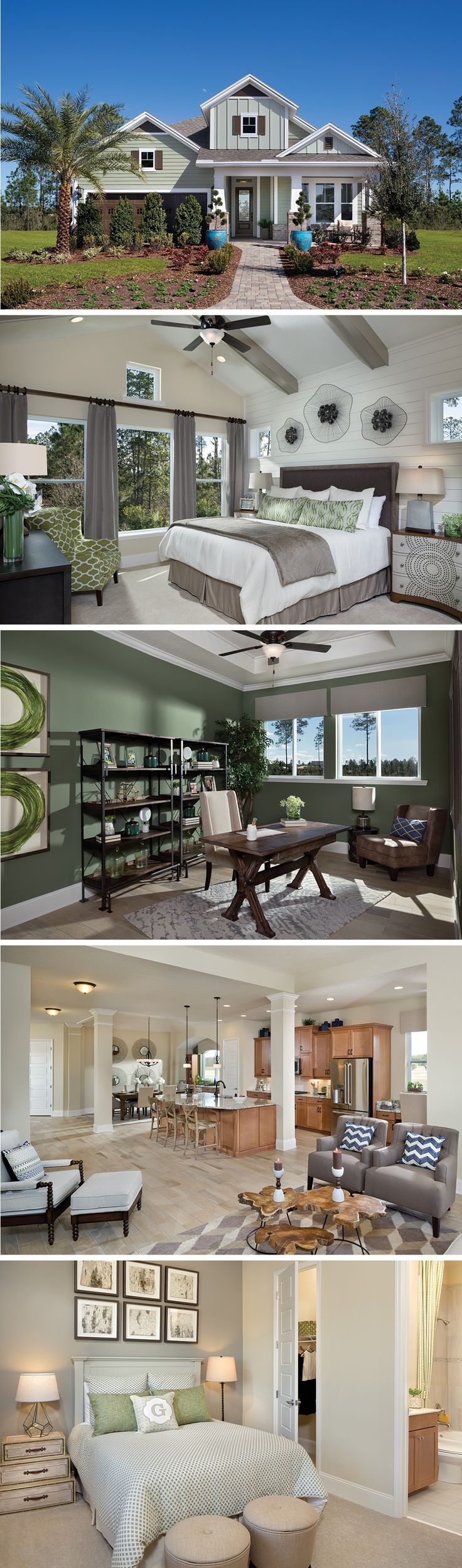The Cloverwood by David Weekley Homes in Shearwater is a 4 or 5 bedroom floorplan that features a private Lanai, tray ceilings in the dining  room and owners bedroom, and an open kitchen and family room layout. Custom home upgrades include a guest suite, an extended Lanai, or a bathtub in the owners bathroom.