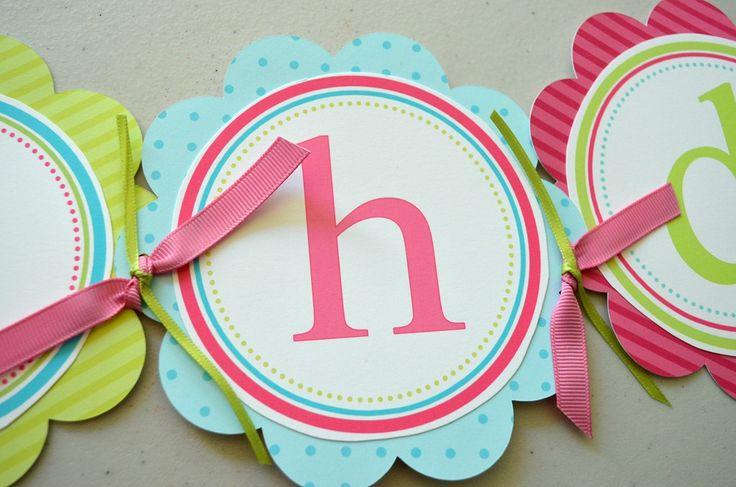 Ice Cream First Birthday Party - Blue Polka Dot Happy Birthday Circle Banner