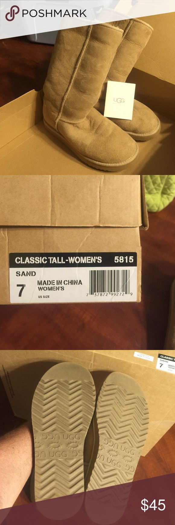 Ugg boots for ladies Classic tall boots for women sand size 7 in like new condition UGG Shoes Ankle Boots & Booties