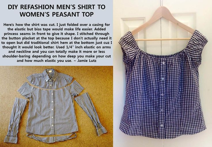 diy clothes refashion repurpose mens shirt to womens peasant top #sewing…
