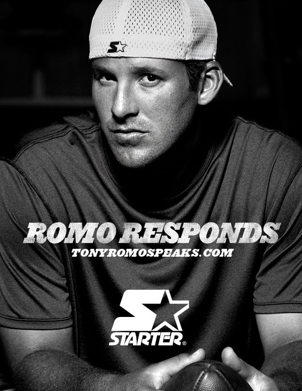 "Dallas Cowboys QB Tony Romo's new ad campaign ""Romo Responds"" TonyRomoSpeaks.com. Image courtesy of Starter #dallascowboys #tonyromo"