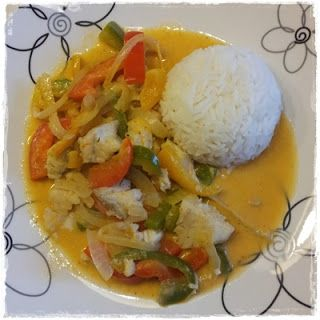 Mat på et fat matblogg.: Hvit fisk i red curry.