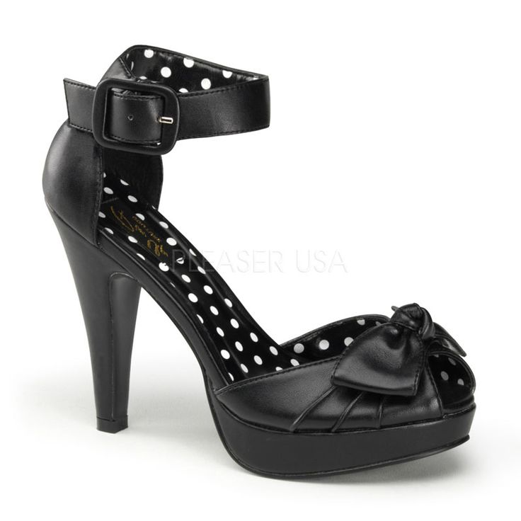 Bettie-07 Matte Black Retro Peep Toe Sandals with 4 1/2 inch Heel, Flirty Bow over the Vamp