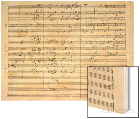 Score for the 3rd Movement of the 5th Symphony Wood Print by Ludwig Van Beethoven at AllPosters.com